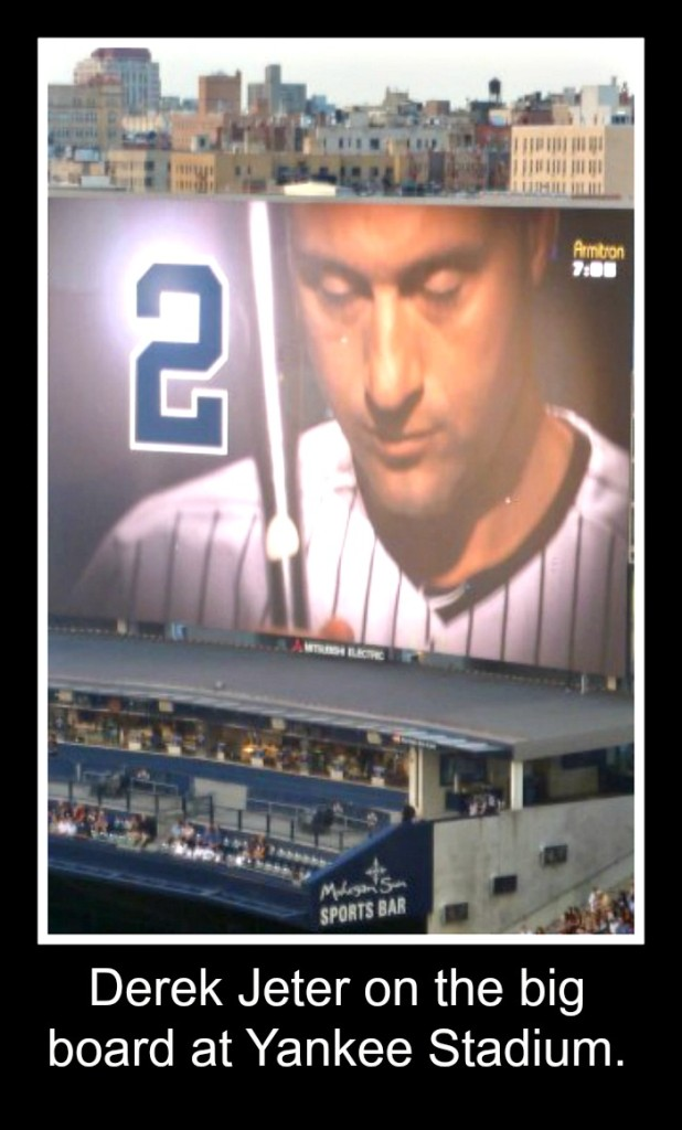 Derek Jeter on big board at Yankee Stadium