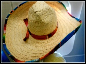 SJ  in sombrero staring out of airplane