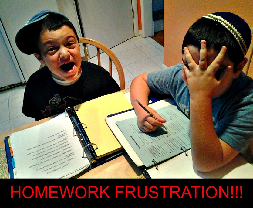 Boys experiencing homework frustration