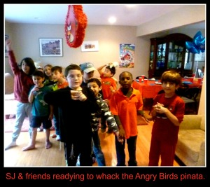SJ and friends are ready to whack the Angry Bird Pinata